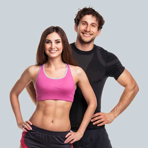 A man and woman, both fit and in shape