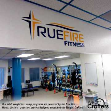 Our newly refurbished fitness center at Weight Crafters displays the True Fire Fitness emblem.