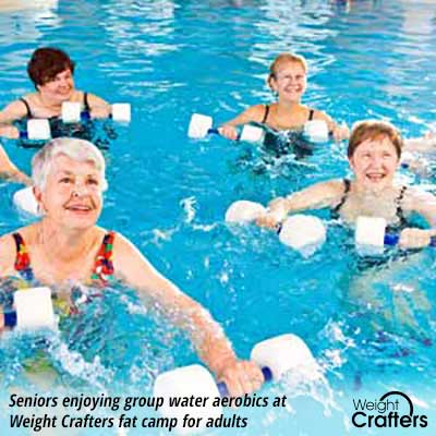 Seniors enjoying group water aerobics at Weight Crafters fat camp for adults