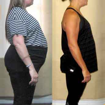 One of our weight loss camp clients shows off her before and after body transformation. She lost over 90lbs!