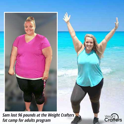 Sam lost 96 pounds at the Weight Crafters fat camp for adults program