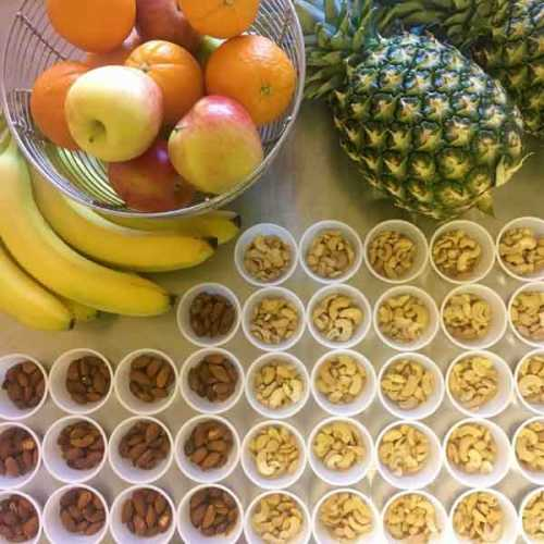 An example of the daily snacks we provide to help you keep your energy up during a busy day of exercise and activities.